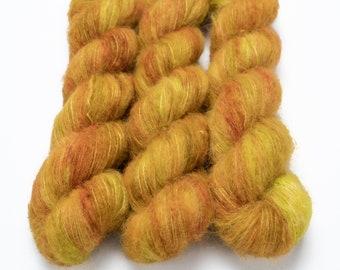Suri Alpaca Silk Yarn, Hand Dyed, Speckled, Alpaca Silk Lace Weight, Brushed Alpaca 50 g, Alpaca Floof - Oh Honey Honey *In Stock