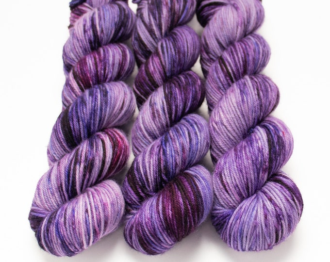 Featured listing image: MCN DK Yarn, Speckled Hand Dyed, Superwash Merino Cashmere Nylon, Double Knitting, Bliss MCN dk, 100g 231 yds - Nurple *In Stock