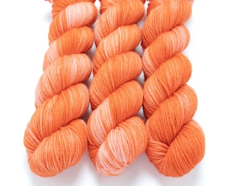 Worsted Weight Yarn, Hand Dyed, Semi-solid, Superwash Merino, Hand Dyed Yarn 100 g/218 yds, Worsted Yarn - Papaya *In Stock