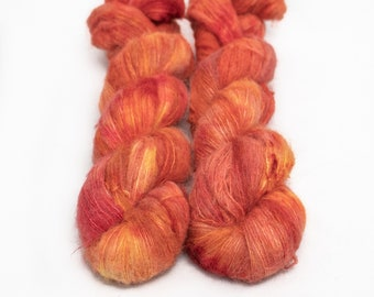 Suri Alpaca Silk Yarn, Hand Dyed, Speckled, Alpaca Silk Lace Weight, Brushed Alpaca 50 g, Alpaca Floof - Kyo *In Stock
