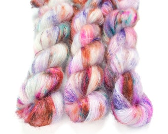 Mohair Silk Yarn, Hand Dyed, Speckled, Kid Silk Lace Weight, Brushed Mohair 50 g, Dandelion Mohair - Surprise Party *In Stock