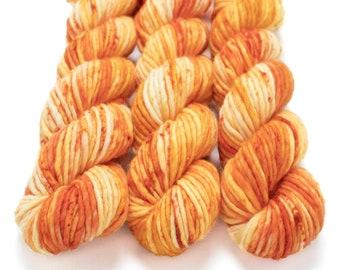 Super Bulky Yarn Merino Nylon, Hand Dyed Yarn, Speckled Yarn, Single Ply, Superwash Hand Dyed, Maizy Super Bulky - Pumpkin Patch *In Stock
