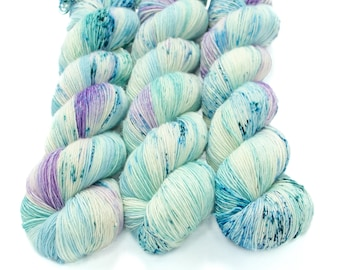 Fingering Yarn Singles Hand Dyed, Speckled, Superwash Merino, Fingering Weight 100g, Shire Singles - Mermaid Trouser Coughs *In Stock