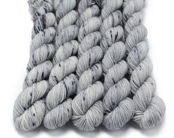 Mini Skein Sock Yarn, Hand Dyed, Speckled Sock Yarn, Superwash Merino Nylon Fingering Weight 20g, Staple Sock  - Ghost *In Stock