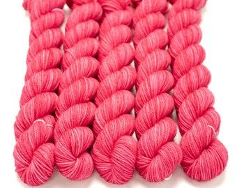 Mini Skein Sock Yarn, Semi solid, Hand Dyed, Superwash Merino Nylon Fingering Weight 20g, Staple Sock  - Electric Kiss *In Stock