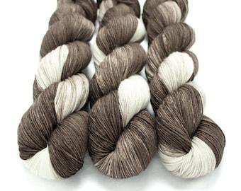 Sock Yarn, Hand Dyed, Variegated, Superwash Merino Nylon Fingering Weight 100 g, Staple Sock - I Love You a Latte *In Stock