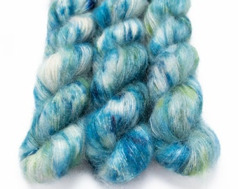 Mohair Silk Yarn, Hand Dyed, Speckled, Kid Silk Lace Weight, Brushed Mohair 50 g, Dandelion Mohair - Sea Glass *In Stock