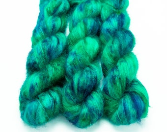 Mohair Silk Yarn, Hand Dyed, Speckled, Kid Silk Lace Weight, Brushed Mohair 50 g, Dandelion Mohair - Shake Your Tail Feather *In Stock