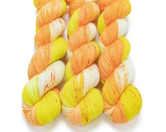 Sock Yarn, Hand Dyed, Speckled, Superwash Merino Nylon Fingering Weight 100 g, Staple Sock - Candy Corn *In Stock