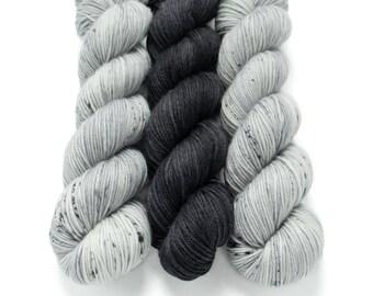 DK Weight Yarn Kit (3) 100g Skeins with Optional Shawl Pattern, Hand Dyed, MCN DK Yarn, 80/10/10 Superwash Merino, Cashmere, Nylon
