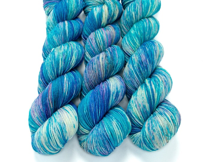 Featured listing image: Speckled Sock Yarn, Hand Dyed, Superwash Merino Nylon Fingering Weight 100 g, Staple Sock  - Sailing Seas *In Stock