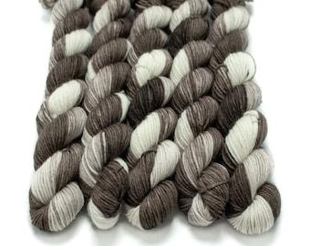 Mini Skein Sock Yarn, Hand Dyed, Speckled Mini, Superwash Merino Nylon Fingering Weight 20g, Staple Sock  - I Love You a Latte *In Stock