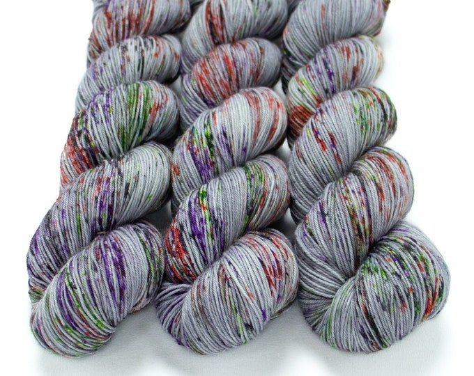 Featured listing image: Sock Yarn, Hand Dyed, Speckled, Superwash Merino Nylon Fingering Weight 100 g, Staple Sock - Graveyard Smash *In Stock