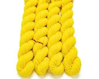 Mini Skein Sock Yarn, Semi solid, Hand Dyed, Superwash Merino Nylon Fingering Weight 20g, Staple Sock  - Yeller Bananer *In Stock