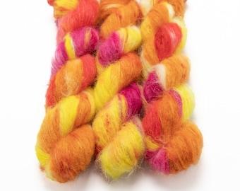 Suri Alpaca Silk Yarn, Hand Dyed, Speckled, Alpaca Silk Lace Weight, Brushed Alpaca 50 g, Alpaca Floof - Plumeria *In Stock