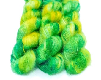 Mohair Silk Yarn, Hand Dyed, Speckled, Kid Silk Lace Weight, Brushed Mohair 50 g, Dandelion Mohair - Cauldron Bubble *In Stock