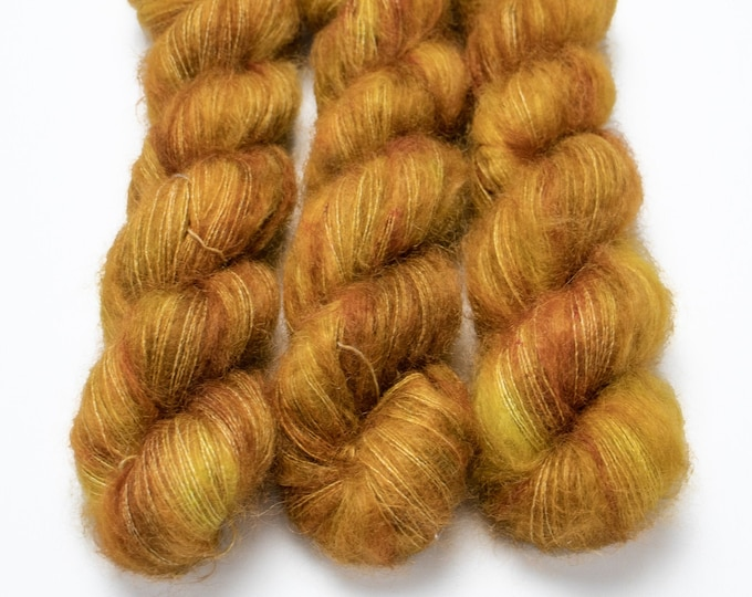 Featured listing image: Mohair Silk Yarn, Hand Dyed, Speckled, Kid Silk Lace Weight, Brushed Mohair 50 g, Dandelion Mohair - Oh Honey Honey *In Stock