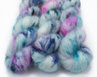 Mohair Silk Yarn, Hand Dyed, Speckled, Kid Silk Lace Weight, Brushed Mohair 50 g, Dandelion Mohair - Puddle Jumper *In Stock