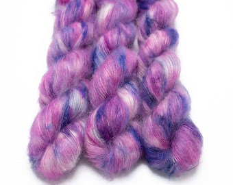 Mohair Silk Yarn, Hand Dyed, Speckled, Kid Silk Lace Weight, Brushed Mohair 50 g, Dandelion Mohair - Soul Sister *In Stock
