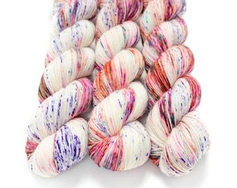 Sock Yarn, Hand Dyed, Speckled Sock Yarn, Superwash Merino Nylon Fingering Weight 100 g, Staple Sock - Surprise Party *In Stock