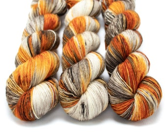 Fingering Yarn Singles Hand Dyed, Specked, Superwash Merino, Fingering Weight Hand Dyed 100g, Shire Singles - Pumpkin Latte *In Stock