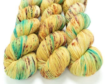 Sock Yarn, Hand Dyed, Speckled, Superwash Merino Nylon Fingering Weight 100 g, Staple Sock - It's Fall Y'all! *In Stock