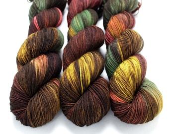 Sock Yarn, Hand Dyed, Variegated, Superwash Merino Nylon Fingering Weight 100 g, Staple Sock - Leaf Peeping *In Stock