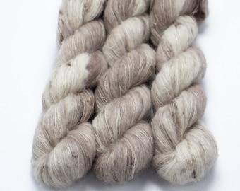 Suri Alpaca Silk Yarn, Hand Dyed, Speckled, Alpaca Silk Lace Weight, Brushed Alpaca 50 g, Alpaca Floof - Crimini *In Stock