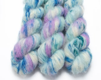 Suri Alpaca Silk Yarn, Hand Dyed, Speckled, Alpaca Silk Lace Weight, Brushed Alpaca 50 g, Alpaca Floof - Mermaid Trouser Coughs *In Stock