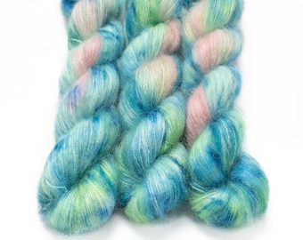 Mohair Silk Yarn, Hand Dyed, Speckled, Kid Silk Lace Weight, Brushed Mohair 50 g, Dandelion Mohair - Water Lily *In Stock