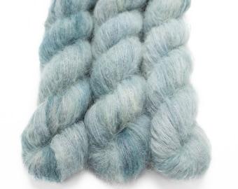 Suri Alpaca Silk Yarn, Hand Dyed, Speckled, Alpaca Silk Lace Weight, Brushed Alpaca 50 g, Alpaca Floof - Quarry *In Stock