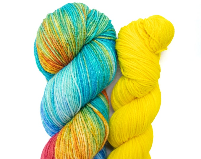 Featured listing image: 100g with 50g Sock Yarn Kit, Hand Dyed, Superwash Merino Nylon Fingering Weight - Grab Your Beach Towel and Yeller Bananer