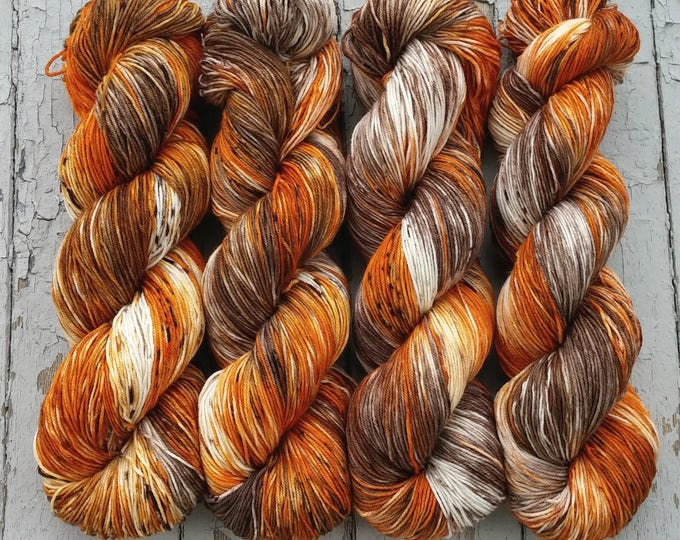 Featured listing image: Sock Yarn, Hand Dyed, Speckled, Superwash Merino Nylon Fingering Weight 100 g, Staple Sock - Pumpkin Latte *In Stock