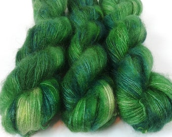 Mohair Silk Yarn, Hand Dyed, Speckled, Kid Silk Lace Weight, Brushed Mohair 50 g, Dandelion Mohair - Emerald *In Stock
