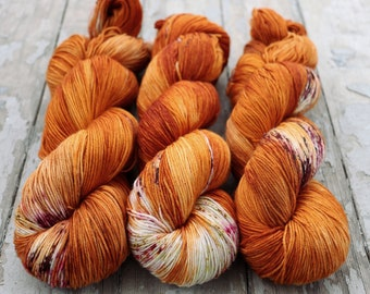 Sock Yarn, Hand Dyed, Speckled, Superwash Merino Nylon Fingering Weight 100 g, Staple Sock - Nothing Rhymes With Orange *In Stock
