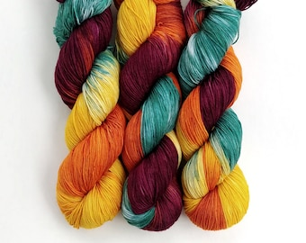 Sock Yarn, Hand Dyed, Speckled, Superwash Merino Nylon Fingering Weight 100 g, Staple Sock - Cornucopia *In Stock