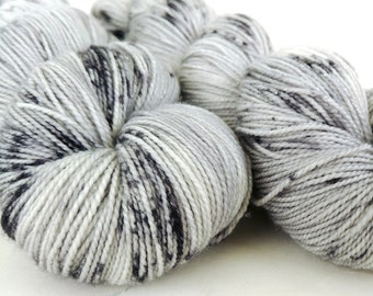 Sparkle Sock Yarn, Hand Dyed, Speckled, Superwash Merino Nylon, Fingering Weight, Pixie Sock 100 g / 438 yds  - Ghost *In Stock