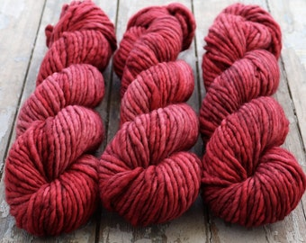 Super Bulky Yarn Merino Nylon, Hand Dyed Yarn, Speckled Yarn, Single Ply, Superwash Hand Dyed, Maizy Super Bulky - Enchanted Rose *In Stock