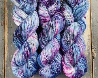 Sock Yarn, Hand Dyed, Speckled, Superwash Merino Nylon Fingering Weight 100 g, Staple Sock  - Cosmic Stardust *In Stock