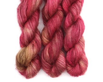 Mohair Silk Yarn, Hand Dyed, Brushed Mohair, Kid Silk Lace Weight, Semi Solid, Tonal, 50 g, Dandelion Mohair - Lady Godiva *In Stock