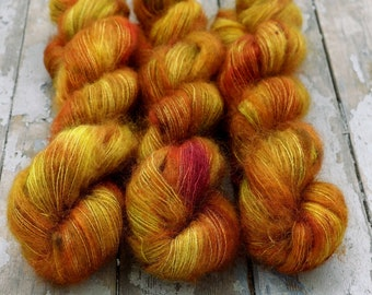 Mohair Silk Yarn, Hand Dyed, Speckled, Kid Silk Lace Weight, Brushed Mohair 50 g, Dandelion Mohair - Oh Honey Honey *In Stock