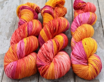 Sock Yarn, Hand Dyed, Speckled, Superwash Merino Nylon Fingering Weight 100 g, Staple Sock - Tequila Sunrise *In Stock