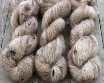 Mohair Silk Yarn, Hand Dyed, Speckled, Kid Silk Lace Weight, Brushed Mohair 50 g, Dandelion Mohair - Crimini *In Stock