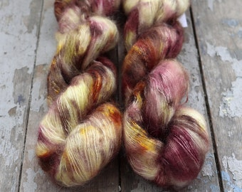 Mohair Silk Yarn, Hand Dyed, Speckled, Kid Silk Lace Weight, Brushed Mohair 50 g, Dandelion Mohair - Roll In The Hay *In Stock