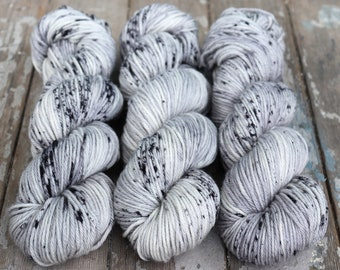 Worsted Weight Yarn, Hand Dyed, Speckled, Superwash Merino, Hand Dyed Yarn 100 g/218 yds, Worsted Yarn- Ghost *In Stock