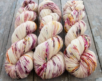 Sock Yarn, Hand Dyed, Speckled Sock Yarn, Superwash Merino Nylon Fingering Weight 100 g, Staple Sock  - Rose Water *In Stock