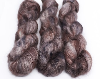 Mohair Silk Yarn, Hand Dyed, Speckled, Kid Silk Lace Weight, Brushed Mohair 50 g, Dandelion Mohair - Mushroom *In Stock