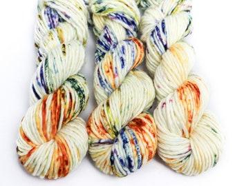 Super Bulky Yarn Merino Nylon, Hand Dyed Yarn, Speckled Yarn, Single Ply, Superwash Hand Dyed, Maizy Super Bulky - Harvest Moon *In Stock