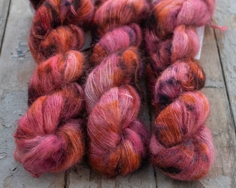 Mohair Silk Yarn, Hand Dyed, Speckled, Kid Silk Lace Weight, Brushed Mohair 50 g, Dandelion Mohair - Love Is A Riddle *In Stock