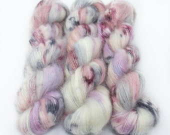 Mohair Silk Yarn, Hand Dyed, Speckled, Kid Silk Lace Weight, Brushed Mohair 50 g, Dandelion Mohair - Unicorn Farts *In Stock
